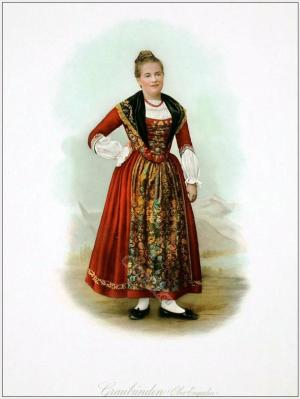 Traditional Switzerland national costumes. Swiss folk dresses. Clothing from the Canton of Grisons, Upper Engadine.