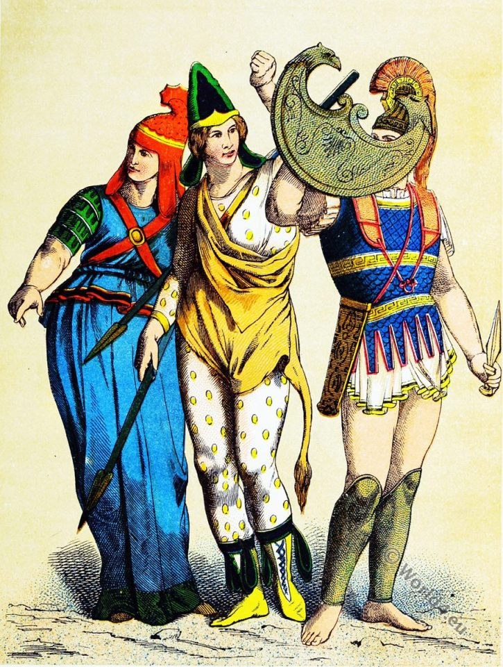 Trojan soldier. Amazons soldier. Costumes. Ancient warriors.