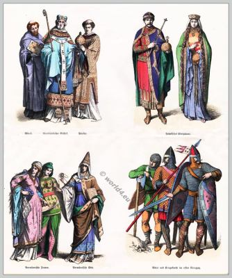 11th century clothing. Middle ages costumes era