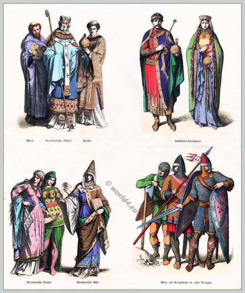11th century fashion. Middle ages, Monastic clothing, Normanns, Crusaders nobility.