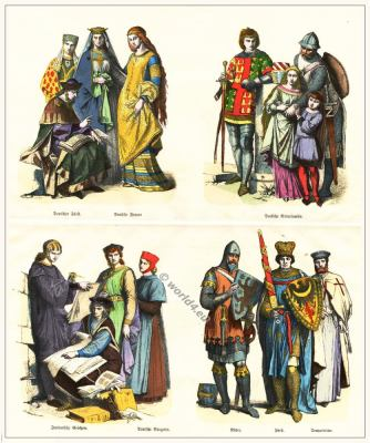 Middle ages gothic costume. 13th century clothing. German Citizen, Knights, Aristocrats, Lord Costumes