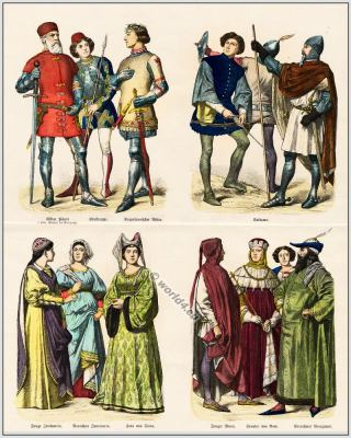 Italian 14th century clothing. Burgundy, Gothic costumes. Middle ages fashion era.