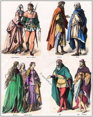 14th century clothing. German and English nobility costumes. English Lord and Duchess with court ladies in gothic costumes. knight in hunting dress