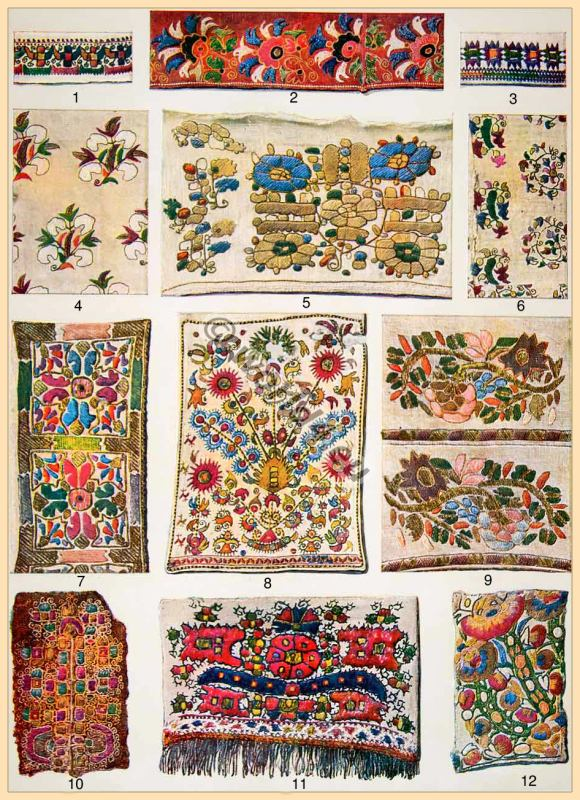 Traditional Greek embroidery patterns. Old Greece silk needle work.