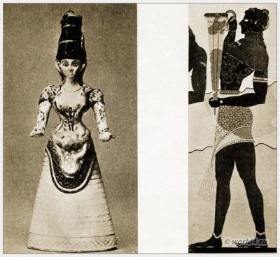 Ancient Greece Costumes. Minoan Snake Goddess costume. Greek Fresco Cup-Bearer.