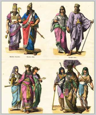 Ancient Egyptian costumes. Pharaoh dress. Assyrian, Medes Costumes.
