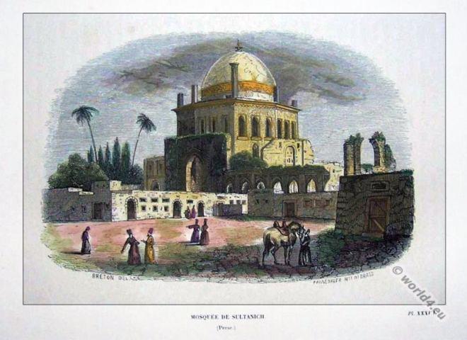 Delhi Sultanate. Mughal Empire 13th century architecture. Sultan Mosque.