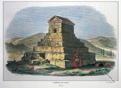 Tomb of Persian ruler, Cyrus the Great. Ruins of Pasargadae. Iran World Heritage Site. Ancient architecture.