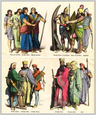 Costumes of Assyrians, Medes and Persians. Ancient warriors dress. Persian warriors