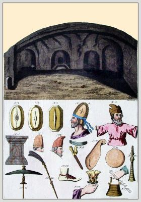 Ancient persian costumes and weapons. Inside a tomb in Persepolis. Intérieur d'un tombeau à Persépolis