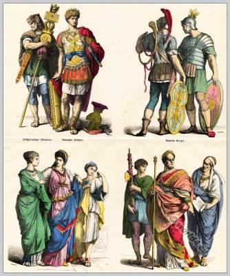 Ancient Roman costumes. Roman Legionnaire. Armed Roman commander in armor. Roman slave girl. Lictor. Roman Emperor