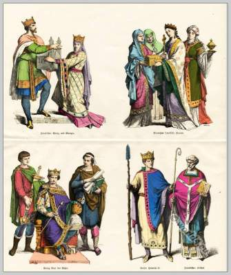 Middle ages costumes. Frankish King, Queen, Noble ladies, King Charles the Bald, Page, Court scribe, Emperor Henry II, Bishop.