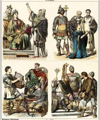 Carolingian costume history. Carolingian clothing. Middle ages fashion. Carlovinienne
