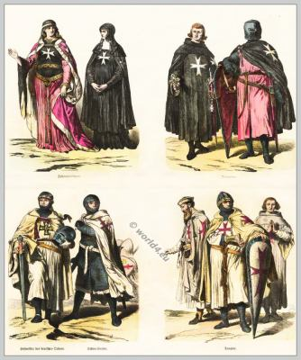 Crusaders and Outremer during the 12th and 13th century. Knights and religious orders during he middle ages.