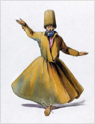 Praying Mevlevi Dervish costume.  Dervishes clothing, Sufism in Turkey.