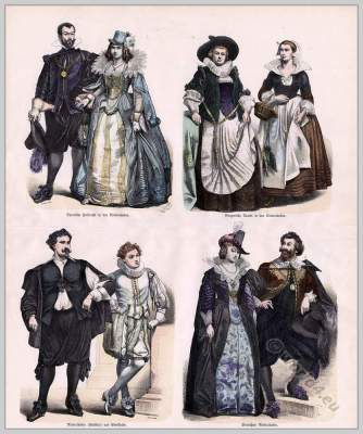 Netherlands Baroque costumes. Dutch 17th century fashion. Nobility clothing.