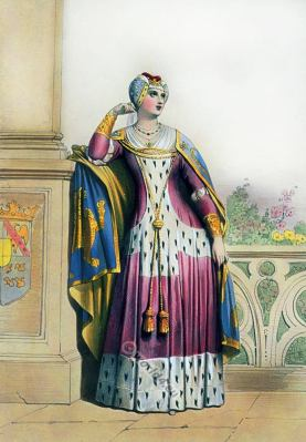 England court lady costume. 14th century. Middle ages fashion.