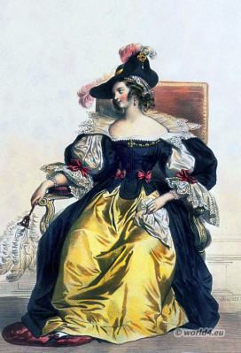 Baroque, Nobility, French, woman, costume, fashion history, historical, dress, 17th century, Louis XIV