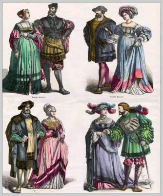 16th century German renaissance costumes. Nobility clothing.