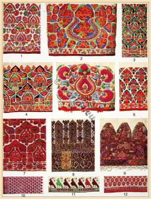 Traditional Greece Silk embroidery patterns. Old Greece needle work. traditional fabrics design