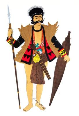 Island of Nias warrior dancer. Traditional Bawomataluo Indonesia costume. Tribals clothing.