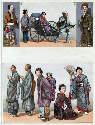 Traditional Japan costumes. 19th century. Antique Kimono. Buddhist monks clothing