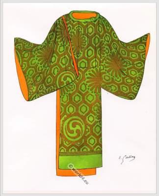Traditional Japan national costume. Antique kimono. Costume Nō Theater, XIII. century
