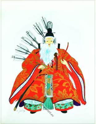 Traditional Japan national costumes. Antique kimono. Court warrior. Samurai.