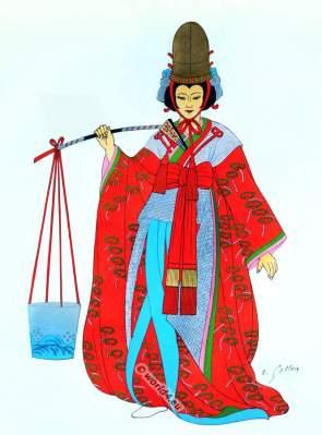 Traditional Japan national costumes. Antique kimono. Japanese Geisha costume.