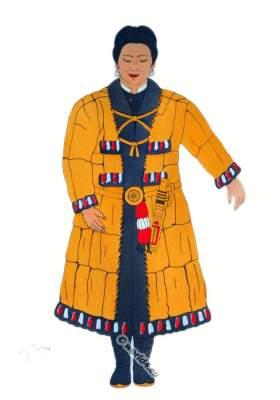 Traditional Japan national costumes. Antique Ainu costume Kuril Islands. Japanese Natives clothing.