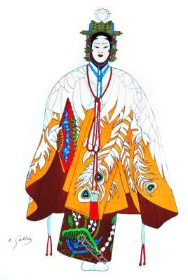 Traditional Japan national costumes. Antique kimono. Japanese theater actor costume.