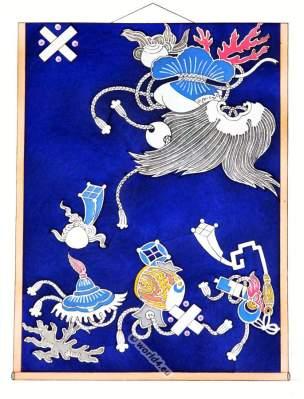 Kakémono fabric nineteenth century. Traditional Japan national costumes.
