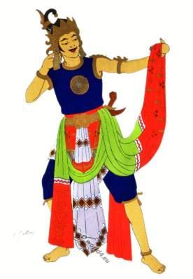 Java national Gatutkatja dance costume. Man dancing. Javanese puppet show costumes.