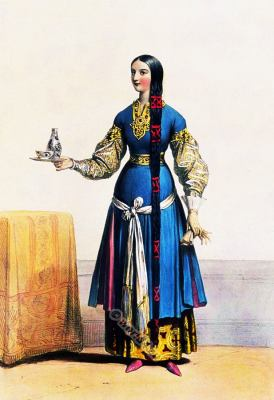 Medieval Maid of honor, clothing,  Merovingian, middle ages,