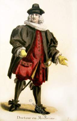 Swiss doctor in official costume. Switzerland Baroque costume recherche. 17th century fashion clothing