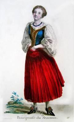 Bourgeois woman. Switzerland Baroque costume recherche. 17th century fashion