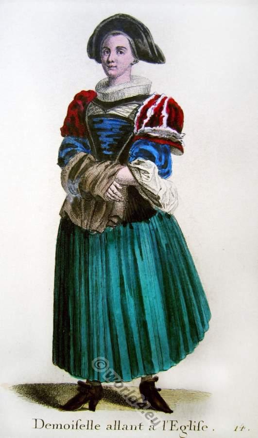 Altes Schweizer Kostüm oder traditionelle Tracht einer Brautjungfer in der Barockzeit