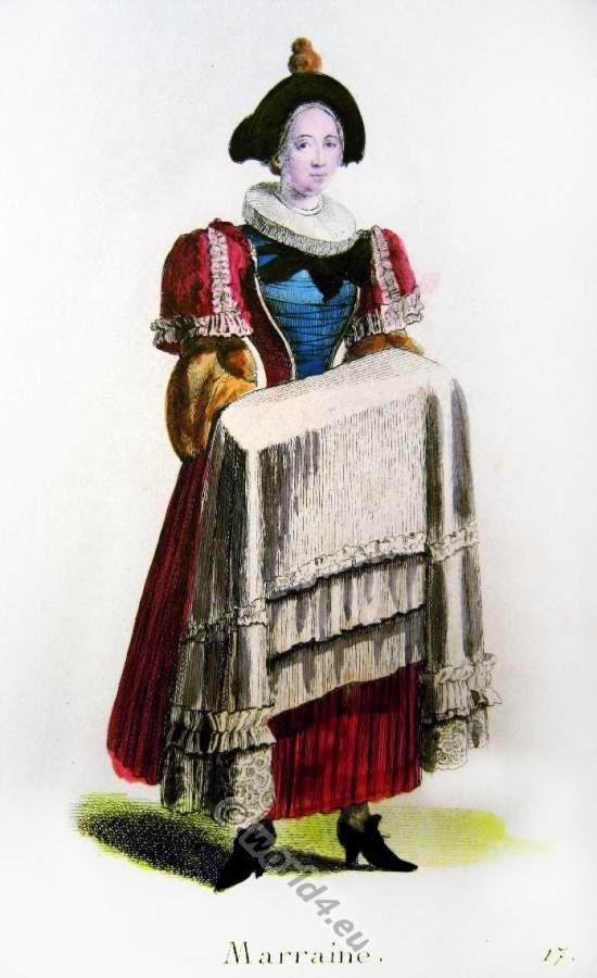 Altes Schweizer Kostüm einer Patentante in der Barockzeit auf dem Weg zur Taufe