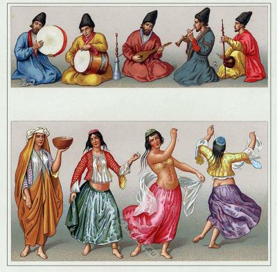 Middle ages Persian dancer and musicians costumes. Arabian Belly dance costume