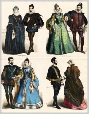 Spanish fashion court dress, Farthingale, Millstone collar, ruff, 16th centuries costumes