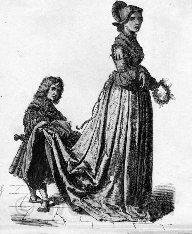 French noblewoman 16th century fashion. Renaissance costumes.