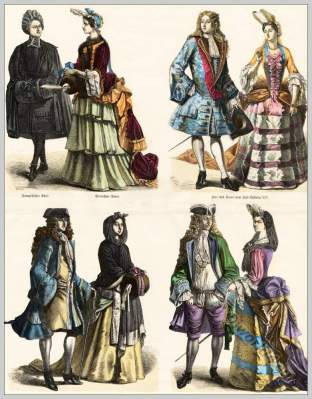 18th century fashion. Court costumes. Nobility in France and Germany.