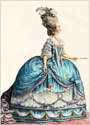 farthingale,Marie Therese of Savoy. Rococo fashion. 18th century costumes. Fashion history.