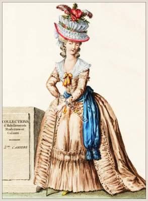 farthingale,Coiffure d'un Chapeau en Corbeille. Rococo fashion. 18th century costumes. Fashion history.