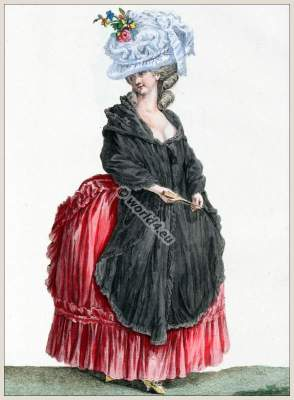 farthingale,Coiffure d'une Chapeau a l'Anglaise. Rococo fashion. 18th century costumes. Fashion history.