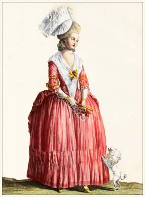 farthingale,Robe à la Polonaise 1775. French Ancien Régime fashion. French Rococo costumes. Hoop skirt, Farthingale. Le Pouf.