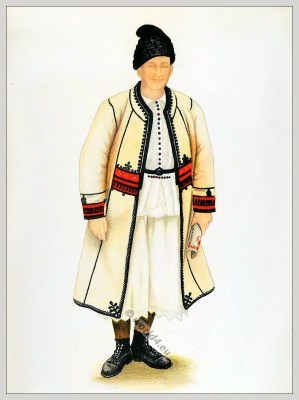 Romanian folk costume. Romania Transylvania national costumes. Traditional embroidery patterns