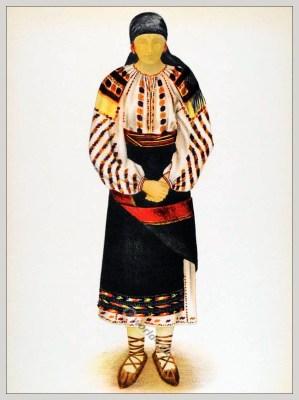 Romanian Suceava District, Bucovina folk costume. Romania Transylvania national costumes. Traditional embroidery patterns