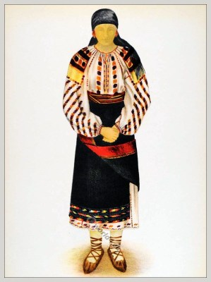 Romanian Suceava District, Bucovina folk costume. Romania Transylvania national costumes. Traditional embroidery patterns