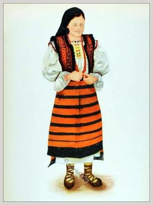 Romanian Maramureș folk costume. Romania Transylvania national costumes. Traditional embroidery patterns